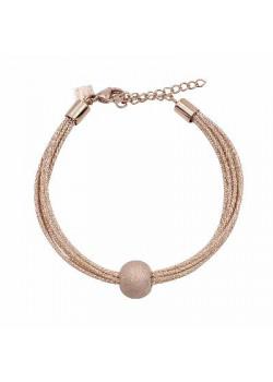 Bracelet en acier poli rosé, 8 cordes, boule martellée