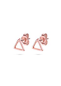 Oorbellen in rosé zilver, driehoekje