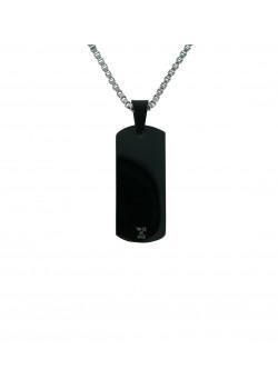 halsketting in edelstaal, zwarte naamplaat