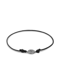 Armband in edelstaal, zwart koord, zwarte ronde met motief
