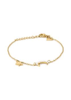 Gold-coloured stainless steel bracelet, maan in parelmoer, sterretje