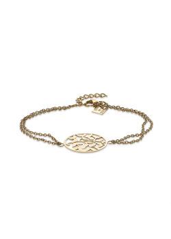 Armband in goudkleurig edelstaal, ronde met takken, dubbele ketting