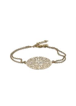 Armband in goudkleurig edelstaal, filigranen bloem, dubbele ketting, kristal