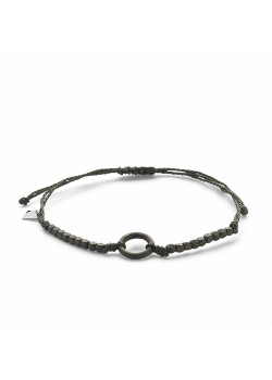 High fashion armband, zwart koord, steentjes, cirkel
