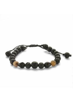 High fashion armband, bollen bruin, zwart, doodskoppen