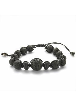 High fashion armband, bollen in zwarte lavasteen