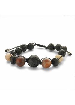 High fashion armband, bollen, zwarte lava en natuursteen