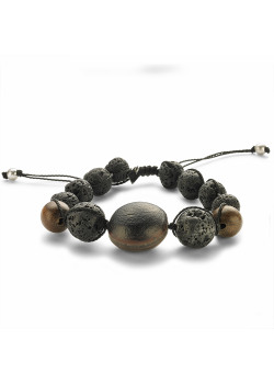 High fashion armband, bollen, 1 ronde, hout, lava steen
