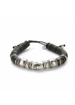 High fashion armband, zwarte en zilverkleurige ovalen