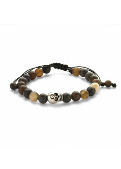 High fashion bracelet, brown and black mat balls, skull