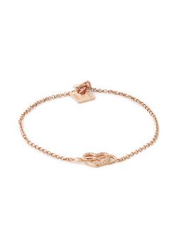 Rosé silver bracelet, open hart met zirkonia, infinity