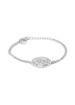 Stainless steel bracelet, hammered tree of life