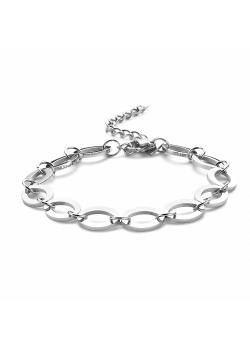 Bracelet en acier poli, liens ovales de 9 mm de large
