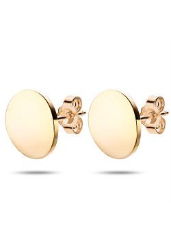 Oorbellen in goudkleurig edelstaal, gebogen ronde, 1 cm