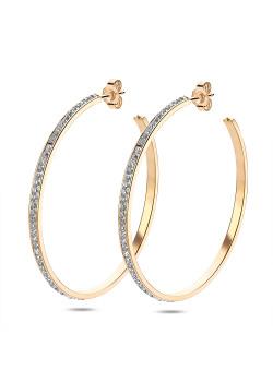gold-coloured stainless steel earrings, 6 cm hoop earrings with crystals