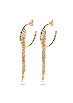 gold-coloured stainless steel earrings, hoop earrings with 7 chains