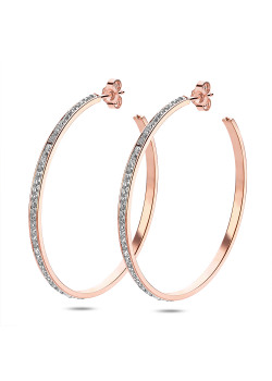 Rosé stainless steel earrings, 6 cm hoop earrings with crystals