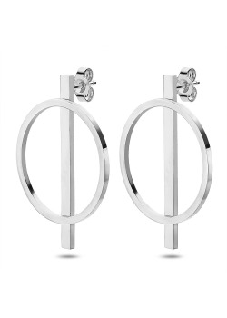 Boucles d'oreilles en acier poli, cercle et tube