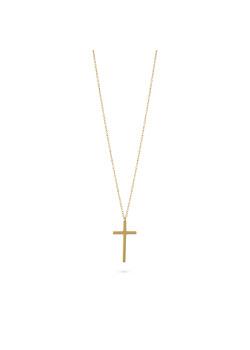 Halsketting in goudkleurig edelstaal, kruis, 25 mm