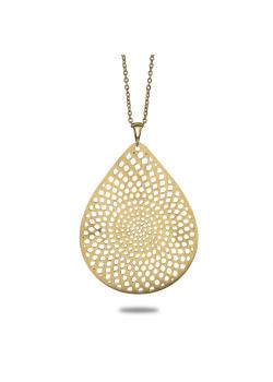 Halsketting in goudkleurig edelstaal, open druppel