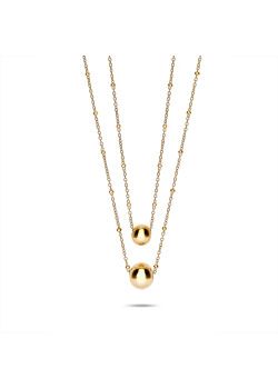 Halsketting in goudkleurig edelstaal, dubbele ketting, 2 bollen