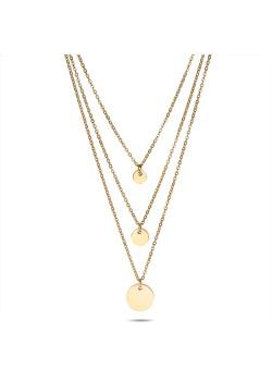 Halsketting in goudkleurig edelstaal, 3 verschillende kettingen, 3 rondjes