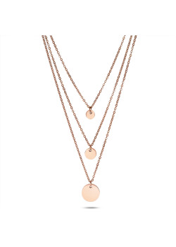 Rosé stainless steel necklace, 3 chains, 3 rounds