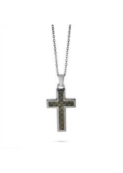 Halsketting in edelstaal, kruis, zwart-grijs