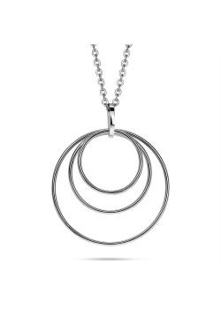 Collier en acier poli, 3 cercles ouverts