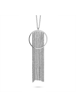 Stainless steel necklace, open round of 35mm with 14 chains