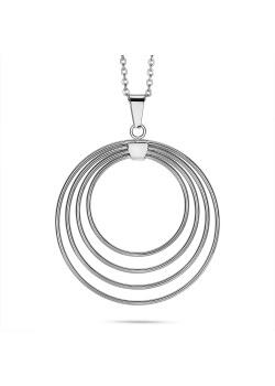 Halsketting in edelstaal, 4 rigide open cirkels