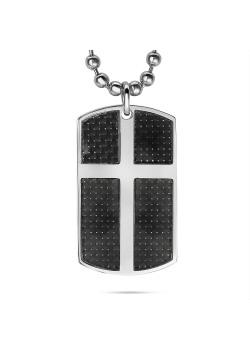 Halsketting in edelstaal, rechthoek met kruis