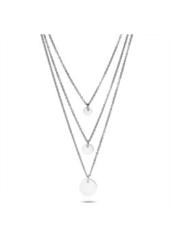 Stainless steel necklace, 3 different chains, 3 rounds