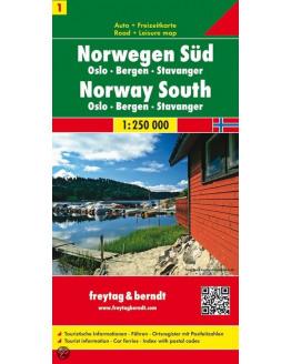 Wegenkaart: Noorwegen Zuid - Oslo-Bergen-Stavanger