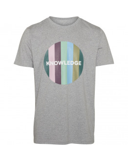 T-shirt with knowledge striped print - GOTS/Vegan