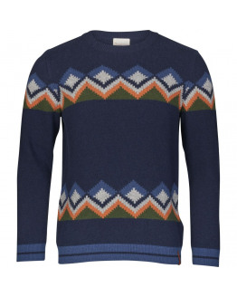 Jacquard O-neck knit - GOTS