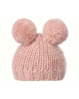 Best Friends knitted hat w. 2 pompom heather