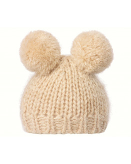 Best Friends knitted hat w. 2 pompom cream