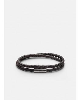 Leather Bracelet Steel Two Rows L