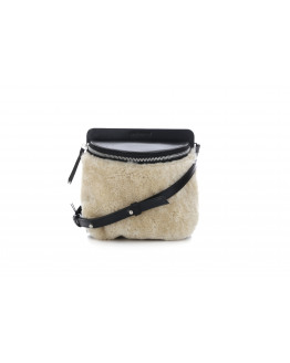 Vertigo Shearling Evening bag Natural