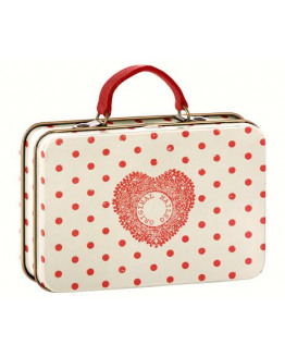 Metal Suitcase Cream, Coral Dots