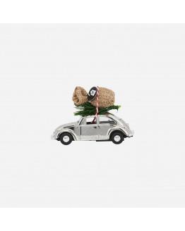 Mini X-Mas car Chrome 8,5cm