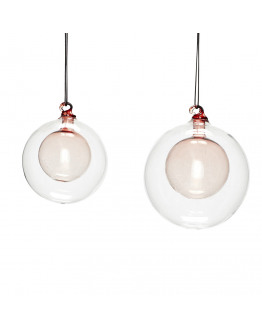 Christmas Ball clear/rose set of 2