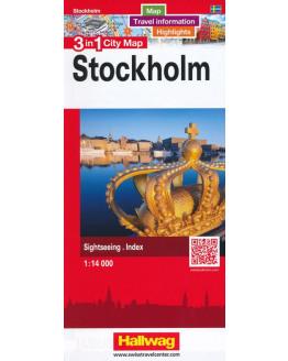 Stockholm 3 in 1 City Map Hallwag r/v (r) wp