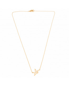 Crane origami thin necklace -Gold plated