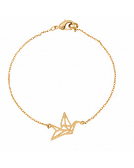 Crane origami thin bracelet - Gold plated