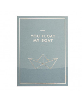 You float my boat silver foil postcard