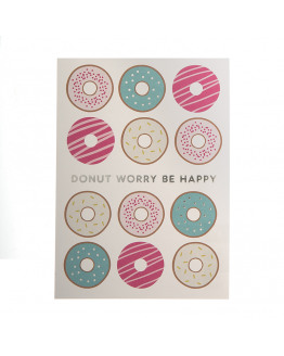 Donut worry be happy silver foil postcard