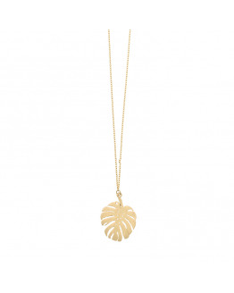 Monstera big long Necklace Gold Plated