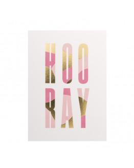 HOO RAY gold foil postcard